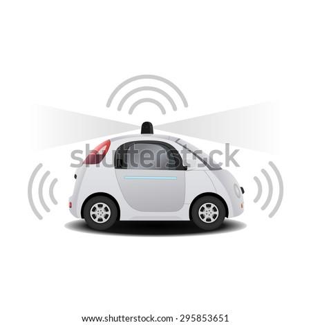Autonomous self-driving (drive) driverless vehicle with radar 3D render - stock vector