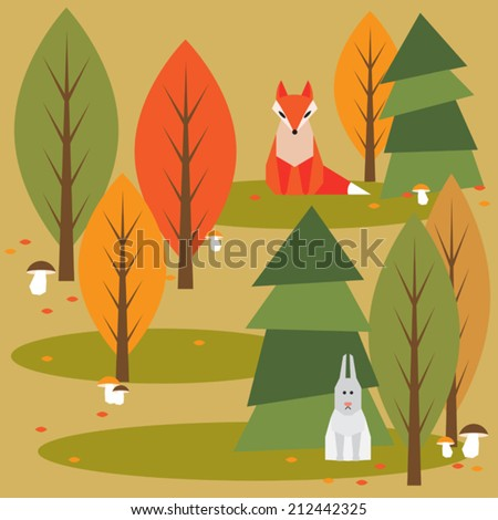 autumn abstract  cartoon  forest background with funny geometric animals - stock vector