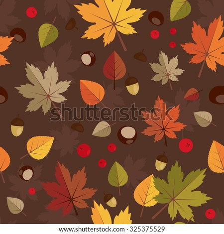 Autumn abstract seamless background  with maple leaves, chestnut, acorn, rowanberry, sorb, aspen, basswood. Back to school. Vector illustration. Wonderful elements to your design. - stock vector