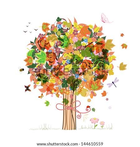 Autumn abstract tree - stock vector