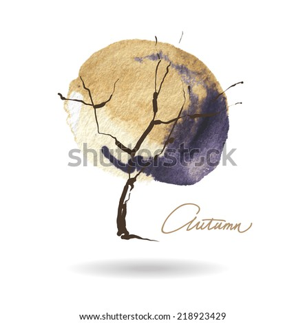 autumn abstract tree forming by blots. Vector watercolor. - stock vector