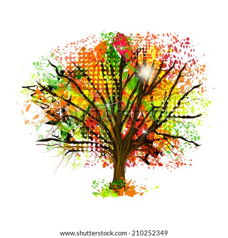 Autumn abstract tree of ink spots. vector