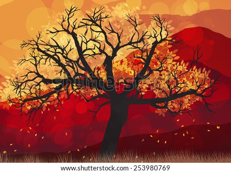 Autumn Abstract Tree - Vector Illustration - stock vector