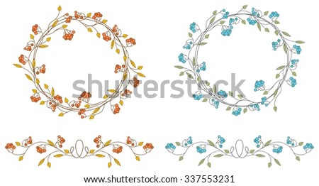 Autumn and winter wreaths and vignettes with brunch, rowan and leaves.  - stock vector