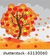 Autumn apple tree - stock vector
