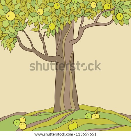 Autumn apple tree. Vector illustration - stock vector