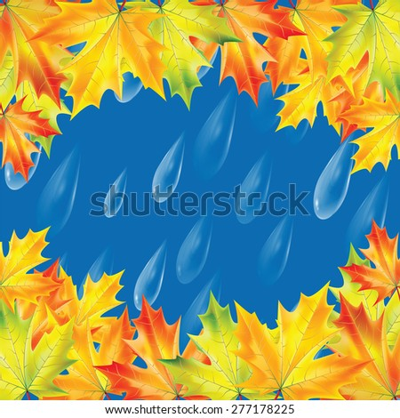 Autumn background.Background with rain drops and maple leaves.Transparent drops of rain on a blue background - stock vector