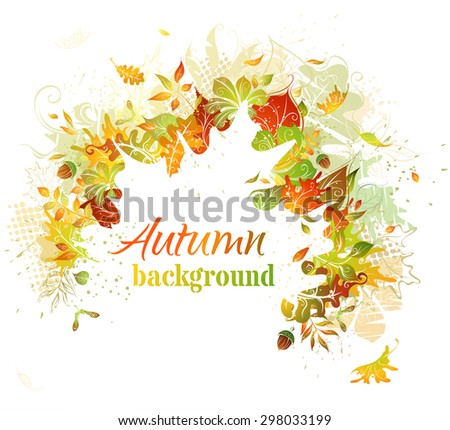 Autumn background. Bright autumn illustration. White leaf silhouette in the center can be used for your text. - stock vector