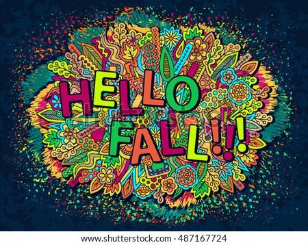 Fall Season Wallpaper Abstract Trendy Doodles Ethnic Zentangle Ornament Pencil