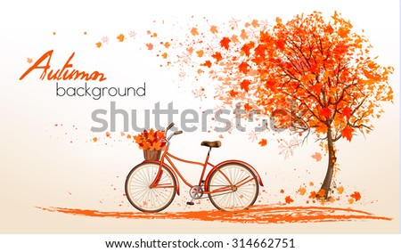 Autumn background with a tree and a bicycle. Vector. - stock vector