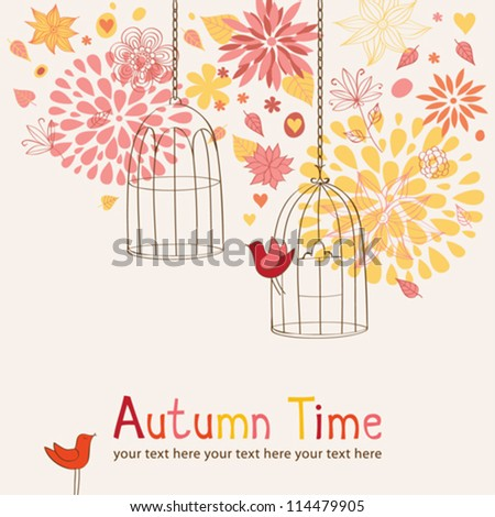 Autumn background with cages and birds - stock vector