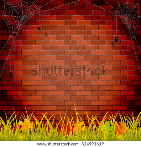 Autumn background with grass and maple leaves on brick wall background, illustration. - stock vector