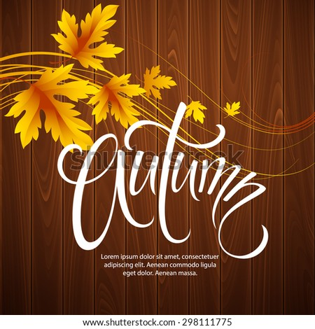 Autumn background with leaf and wood texture. Vector illustration EPS 10 - stock vector