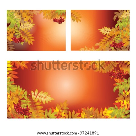 Autumn background with leaves and berries. Vector clip art