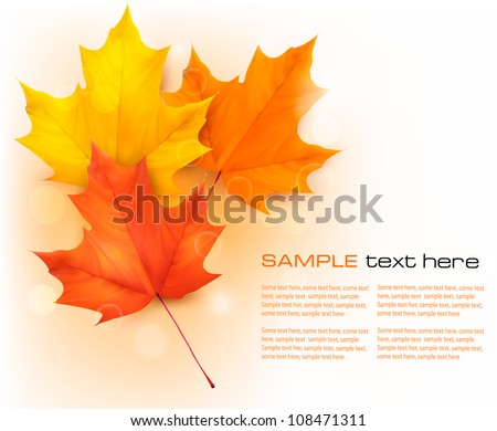 Autumn background with leaves. Back to school. Vector illustration - stock vector
