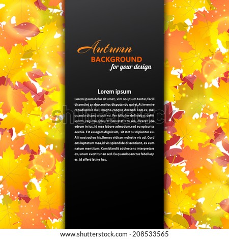 Autumn background with maple and other leaves. Black text box. Vector illustration. - stock vector