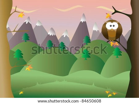 Autumn background with owl - stock vector