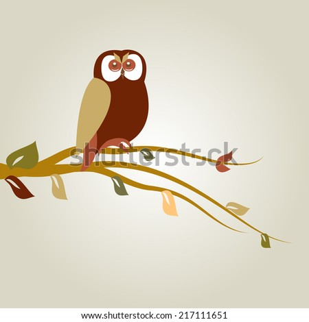 Autumn background with owl on tree branch - stock vector