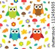 Autumn background with owls. Vector seamless pattern - stock vector