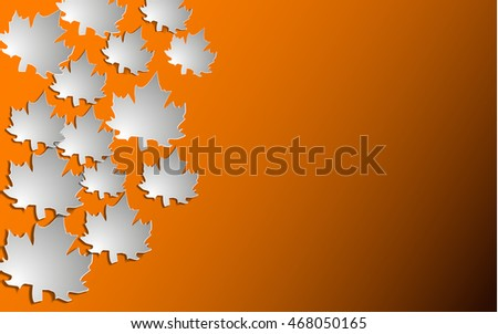 Autumn background with paper cut maple, Vector illustration.