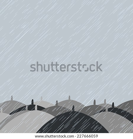 Autumn background with  rain and umbrellas - stock vector