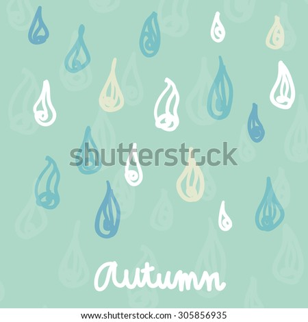 Vector Umbrella Rain Square Composition Text Stock Vector