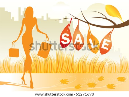 autumn background with shopping woman with shopping bags - vector illustration - stock vector