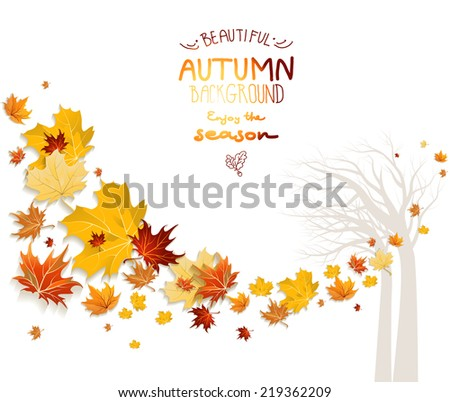 Autumn background with tree silhouette. Copy space. - stock vector