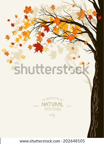 Autumn background with tree silhouette. Place for text - stock vector