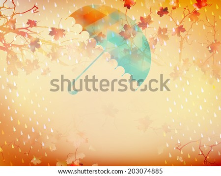 Autumn background with umbrella and leaves. And also includes EPS 10 vector