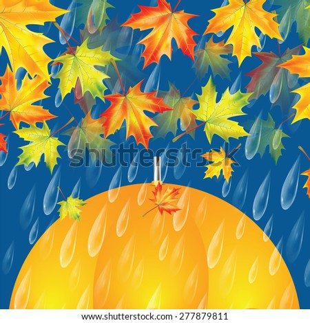 Autumn background with umbrella, maple leaves and rain drops - stock vector
