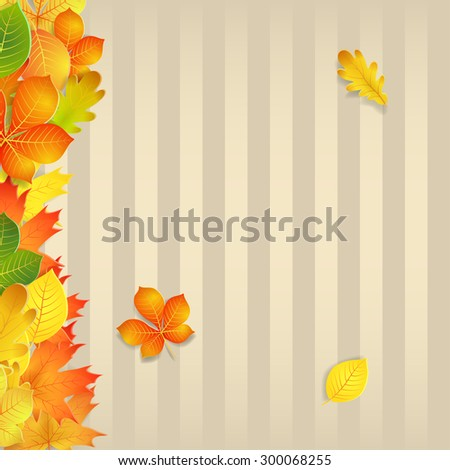 Autumn background with yellow, green, orange leaves and vertical strips - stock vector