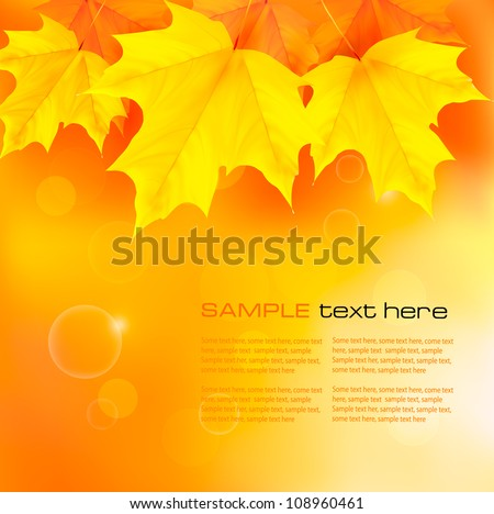 Autumn background with yellow leaves. Back to school. Vector illustration. - stock vector