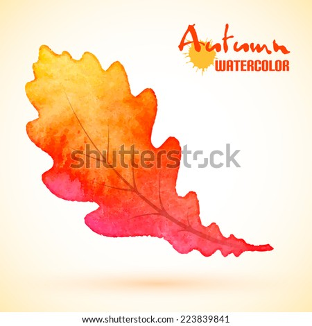 Autumn background, yellow oak leaf with watercolor texture, vector eps10 - stock vector