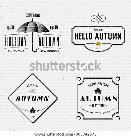 Autumn badges logos and labels can be used to design packages of goods during autumn sales
