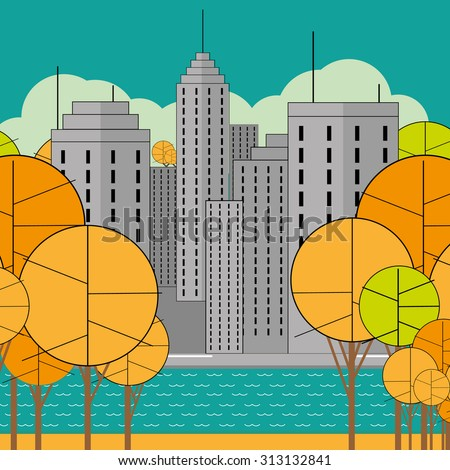 autumn beautiful city on the banks of a river or lake - stock vector