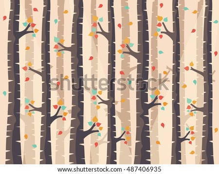 Autumn Birch Forest Background with Falling Leaves.