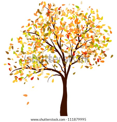 Autumn birch tree with  falling leaves background. Vector illustration. - stock vector