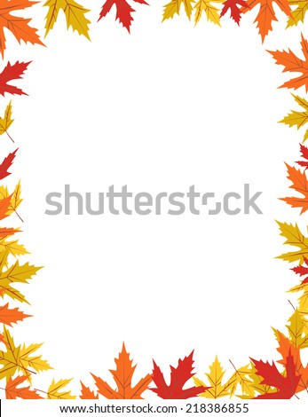 Autumn border design vector illustration - stock vector