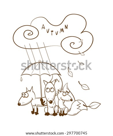 Autumn card with three cartoon foxes who hide under an umbrella. Rainy autumn weather. - stock vector