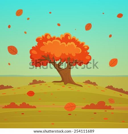 Autumn cartoon landscape with tree, vector illustration. - stock vector