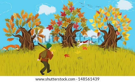 Autumn cartoon landscape with trees and huntsman walking shooting with his dog  - stock vector