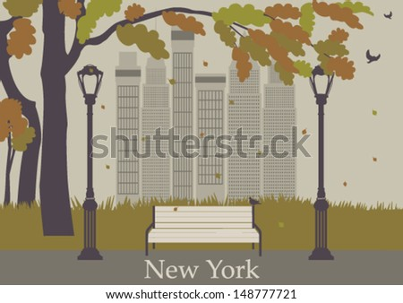 Autumn central park in New York. Vector - stock vector