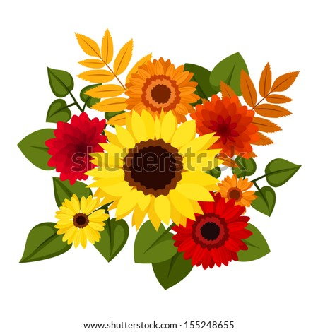 Autumn colorful flowers. Vector illustration. - stock vector