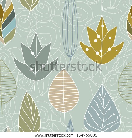 Autumn colorful leaves pattern lines - stock vector