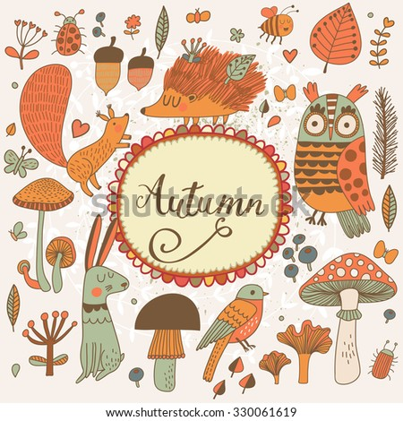 Autumn concept forest card with lovely wild animals : rabbit, hedgehog, squirrel, owl and birds. Stylish background with birds and animals in mushrooms, leafs and insects in orange colors - stock vector