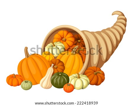 Autumn cornucopia (horn of plenty) with pumpkins. Vector illustration. - stock vector