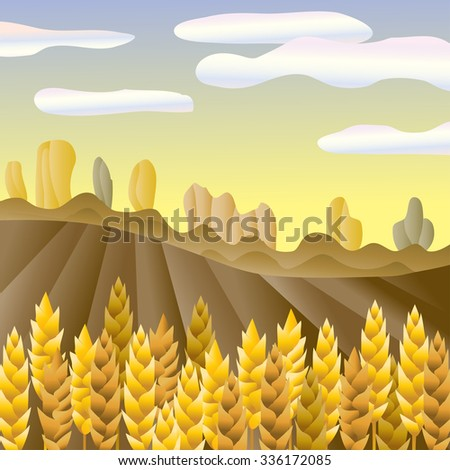 Autumn countryside. Rural landscape. Wheat ears field vector illustration.