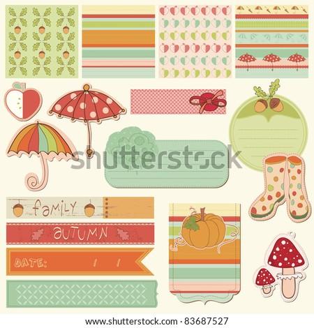 Autumn Cute Elements - for scrapbook, design, invitation, greetings - stock vector