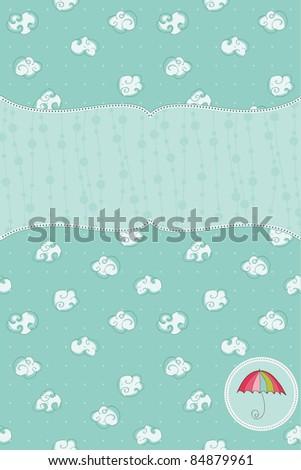 Autumn Cute Rainy Card with Birds and Autumn Sign in vector - stock vector